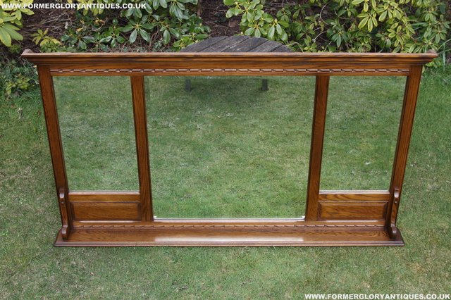 Image 3 of OLD CHARM OAK OVERMANTEL FIRE SURROUND SIDEBOARD HALL MIRROR