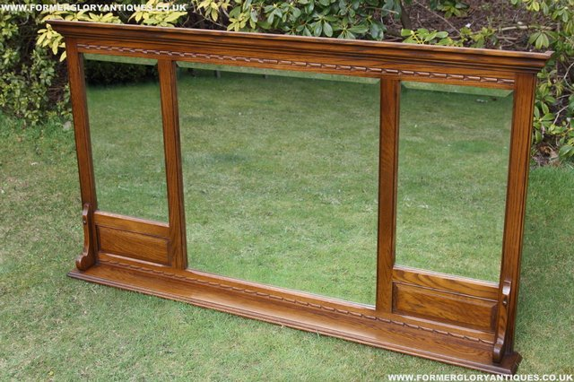 Image 6 of OLD CHARM OAK OVERMANTEL FIRE SURROUND SIDEBOARD HALL MIRROR