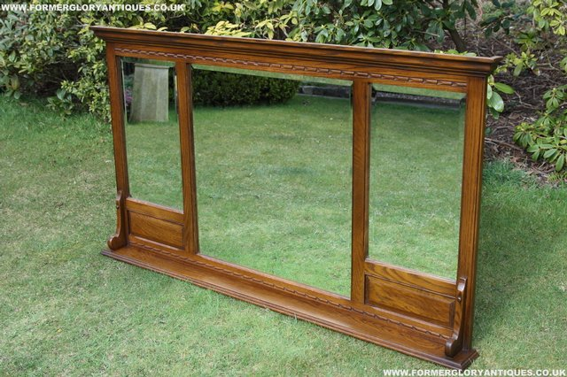 Image 9 of OLD CHARM OAK OVERMANTEL FIRE SURROUND SIDEBOARD HALL MIRROR
