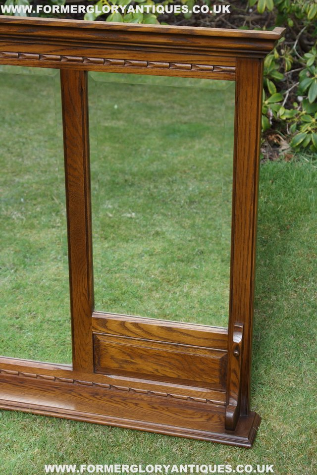 Image 13 of OLD CHARM OAK OVERMANTEL FIRE SURROUND SIDEBOARD HALL MIRROR