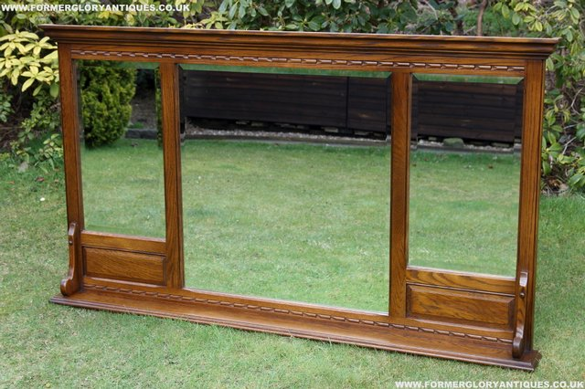 Image 31 of OLD CHARM OAK OVERMANTEL FIRE SURROUND SIDEBOARD HALL MIRROR