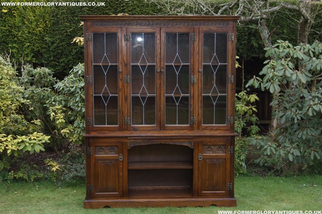 Preview of the first image of OLD CHARM LIGHT OAK DRESSER BASE SIDEBOARD BOOKCASE CABINET.