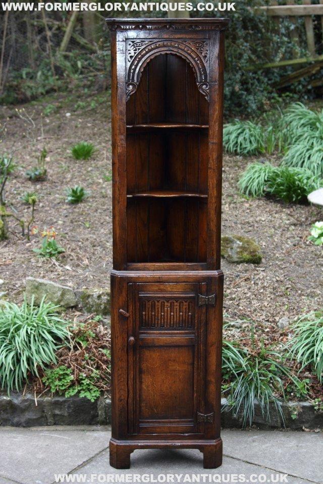 Image 10 of TITCHMARSH GOODWIN OAK DISPLAY CORNER CABINET BOOKCASE