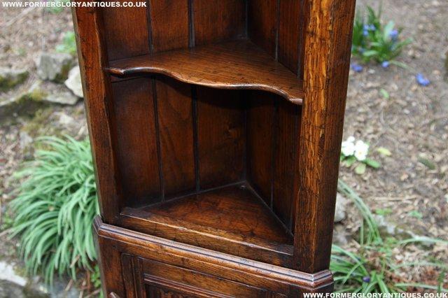 Image 14 of TITCHMARSH GOODWIN OAK DISPLAY CORNER CABINET BOOKCASE