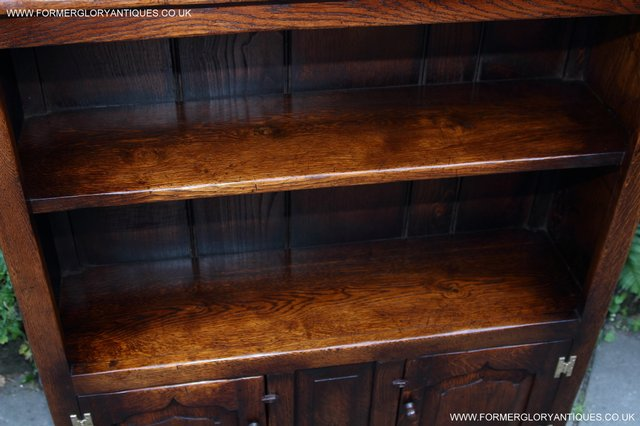 Image 2 of TITCHMARSH AND GOODWIN STYLE OAK BOOKCASE CABINET CUPBOARD