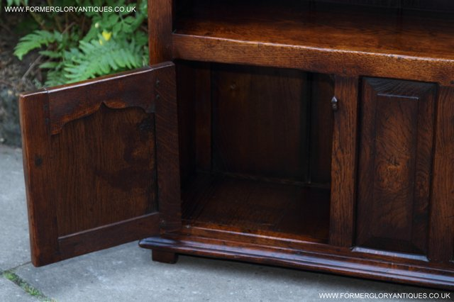 Image 11 of TITCHMARSH AND GOODWIN STYLE OAK BOOKCASE CABINET CUPBOARD