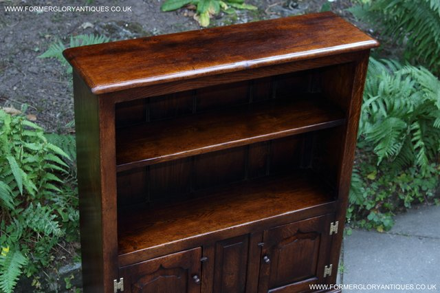 Image 13 of TITCHMARSH AND GOODWIN STYLE OAK BOOKCASE CABINET CUPBOARD