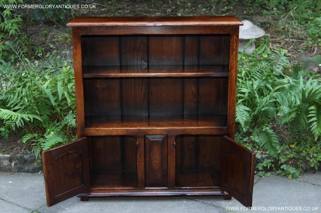 Image 17 of TITCHMARSH AND GOODWIN STYLE OAK BOOKCASE CABINET CUPBOARD