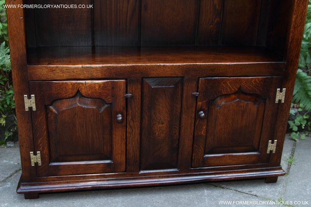 Image 20 of TITCHMARSH AND GOODWIN STYLE OAK BOOKCASE CABINET CUPBOARD
