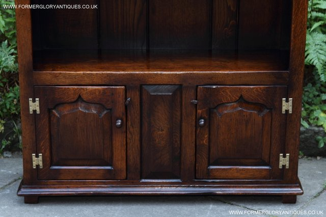 Image 22 of TITCHMARSH AND GOODWIN STYLE OAK BOOKCASE CABINET CUPBOARD
