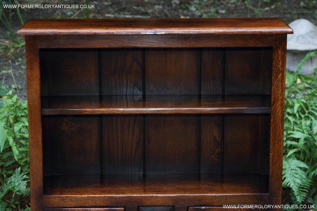 Image 33 of TITCHMARSH AND GOODWIN STYLE OAK BOOKCASE CABINET CUPBOARD