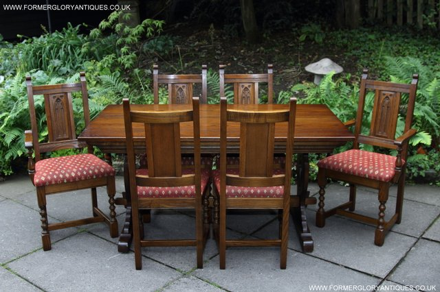 Image 4 of OLD CHARM LIGHT OAK KITCHEN DINING TABLE SIX DINING CHAIRS.