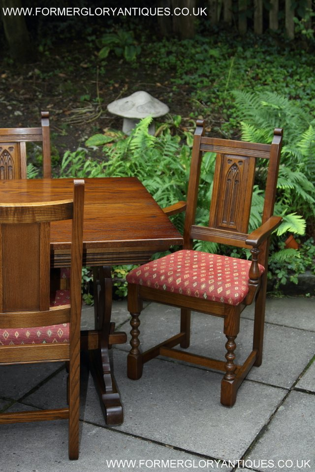 Image 5 of OLD CHARM LIGHT OAK KITCHEN DINING TABLE SIX DINING CHAIRS.