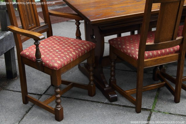 Image 8 of OLD CHARM LIGHT OAK KITCHEN DINING TABLE SIX DINING CHAIRS.
