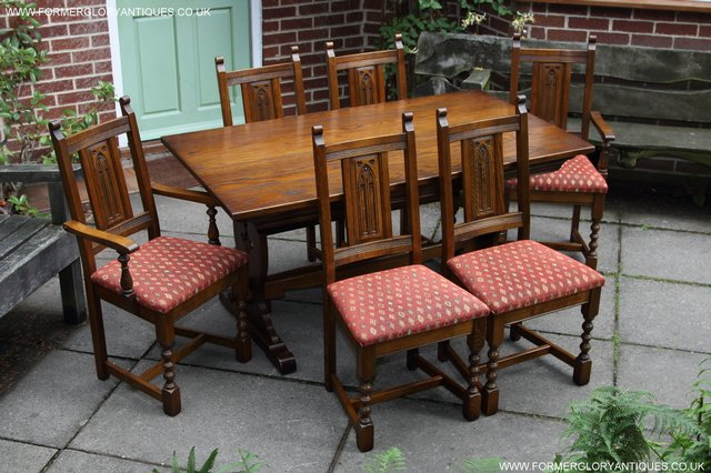 Image 10 of OLD CHARM LIGHT OAK KITCHEN DINING TABLE SIX DINING CHAIRS.