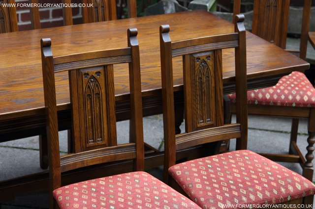 Image 18 of OLD CHARM LIGHT OAK KITCHEN DINING TABLE SIX DINING CHAIRS.