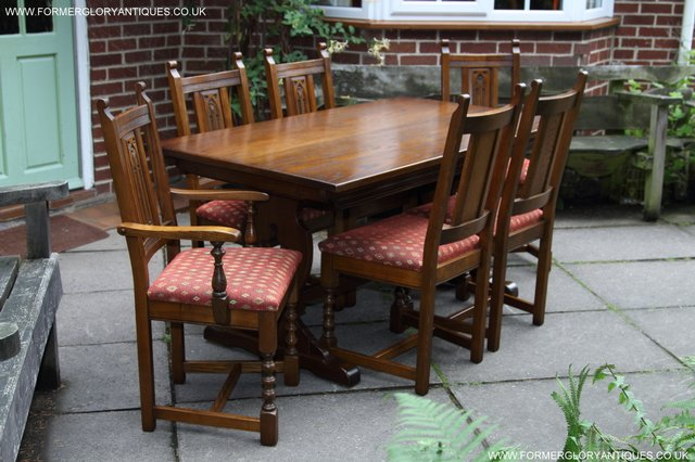 Image 21 of OLD CHARM LIGHT OAK KITCHEN DINING TABLE SIX DINING CHAIRS.