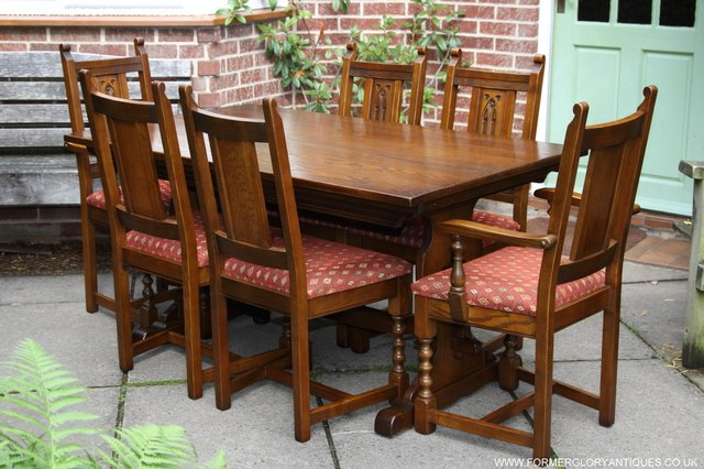Image 22 of OLD CHARM LIGHT OAK KITCHEN DINING TABLE SIX DINING CHAIRS.