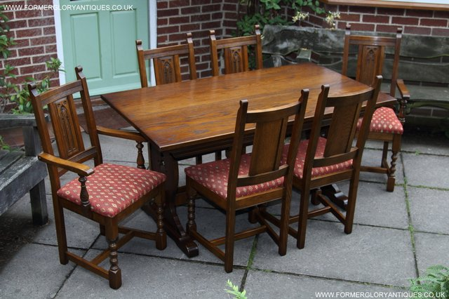 Image 26 of OLD CHARM LIGHT OAK KITCHEN DINING TABLE SIX DINING CHAIRS.