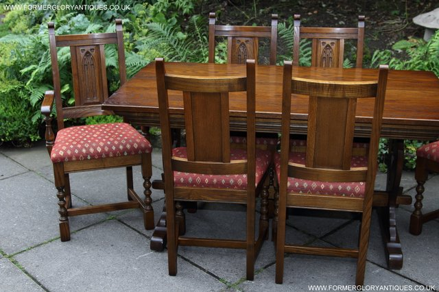 Image 36 of OLD CHARM LIGHT OAK KITCHEN DINING TABLE SIX DINING CHAIRS.