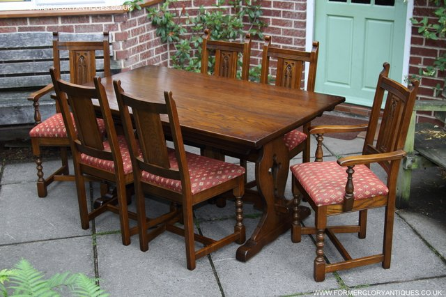 Image 37 of OLD CHARM LIGHT OAK KITCHEN DINING TABLE SIX DINING CHAIRS.
