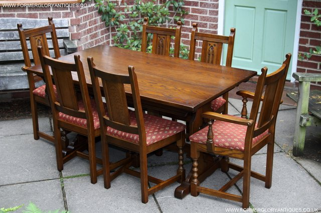 Image 38 of OLD CHARM LIGHT OAK KITCHEN DINING TABLE SIX DINING CHAIRS.