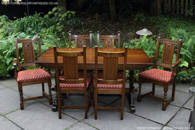 Image 43 of OLD CHARM LIGHT OAK KITCHEN DINING TABLE SIX DINING CHAIRS.