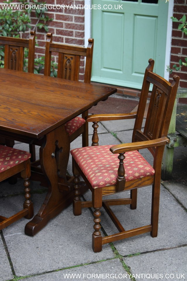Image 44 of OLD CHARM LIGHT OAK KITCHEN DINING TABLE SIX DINING CHAIRS.
