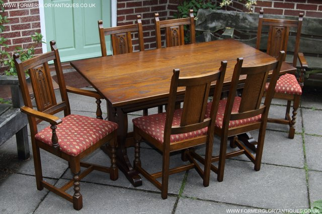 Image 45 of OLD CHARM LIGHT OAK KITCHEN DINING TABLE SIX DINING CHAIRS.
