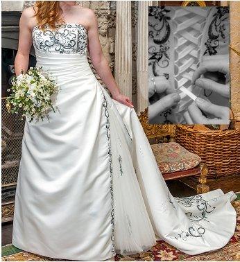 Phil Collins A Line PC9304 Satin Ivory Wedding Dress