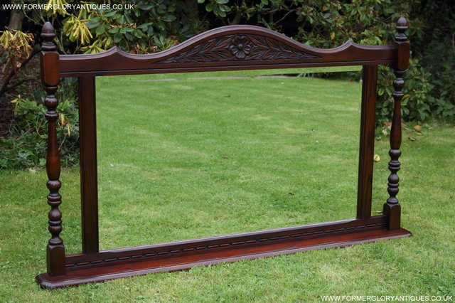 Preview of the first image of OLD CHARM TUDOR BROWN OAK OVERMANTEL SIDEBOARD HALL MIRROR.