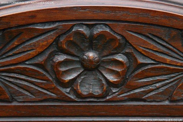 Image 22 of OLD CHARM TUDOR BROWN OAK OVERMANTEL SIDEBOARD HALL MIRROR