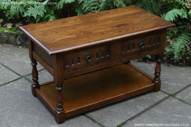 Image 2 of OLD CHARM LIGHT OAK TWO DRAWER LAMP OCCASIONAL COFFEE TABLE