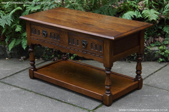 Preview of the first image of OLD CHARM LIGHT OAK TWO DRAWER LAMP OCCASIONAL COFFEE TABLE.
