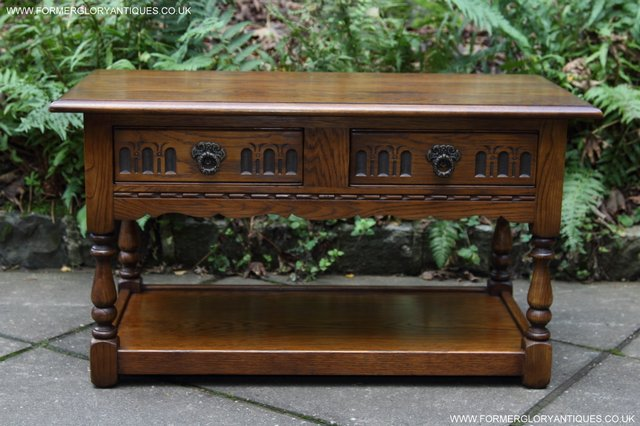 Image 4 of OLD CHARM LIGHT OAK TWO DRAWER LAMP OCCASIONAL COFFEE TABLE