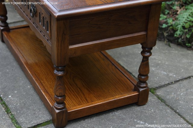 Image 6 of OLD CHARM LIGHT OAK TWO DRAWER LAMP OCCASIONAL COFFEE TABLE