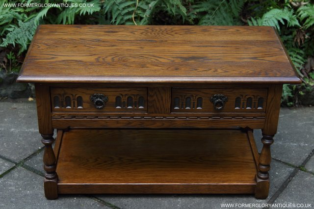 Image 7 of OLD CHARM LIGHT OAK TWO DRAWER LAMP OCCASIONAL COFFEE TABLE
