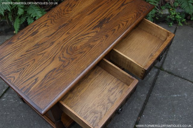 Image 10 of OLD CHARM LIGHT OAK TWO DRAWER LAMP OCCASIONAL COFFEE TABLE
