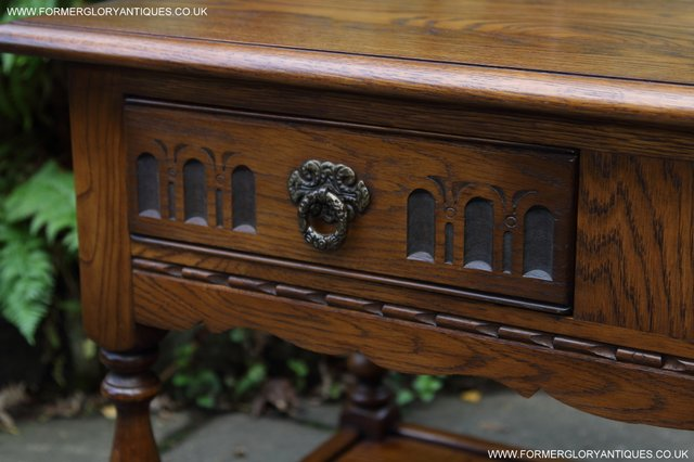 Image 12 of OLD CHARM LIGHT OAK TWO DRAWER LAMP OCCASIONAL COFFEE TABLE