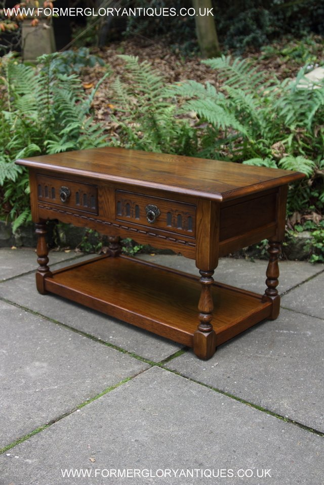Image 14 of OLD CHARM LIGHT OAK TWO DRAWER LAMP OCCASIONAL COFFEE TABLE
