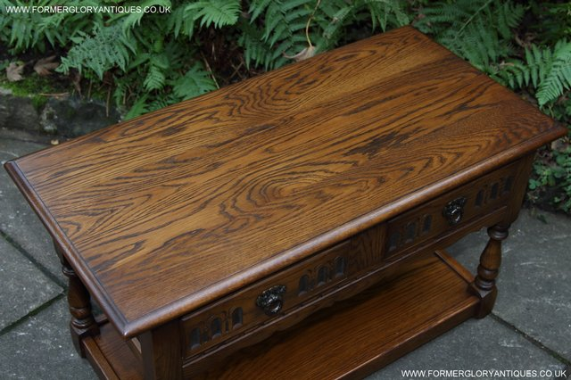 Image 15 of OLD CHARM LIGHT OAK TWO DRAWER LAMP OCCASIONAL COFFEE TABLE