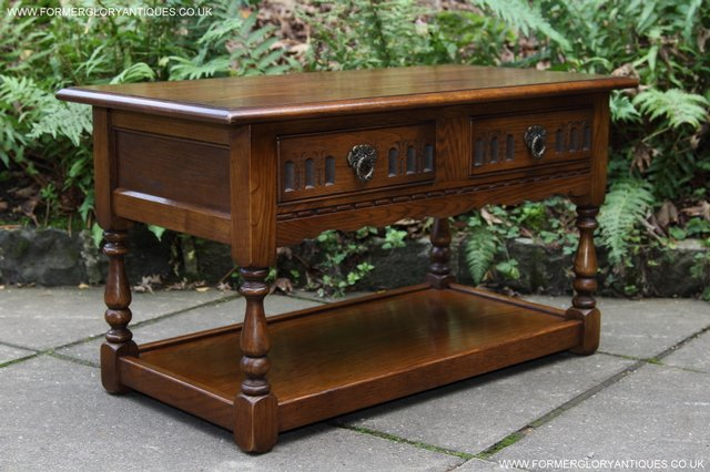 Image 19 of OLD CHARM LIGHT OAK TWO DRAWER LAMP OCCASIONAL COFFEE TABLE