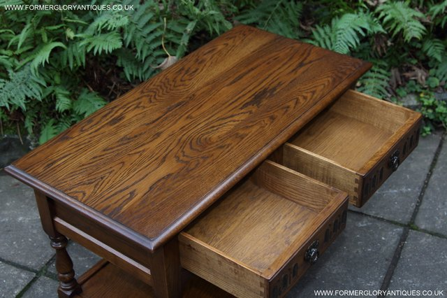 Image 20 of OLD CHARM LIGHT OAK TWO DRAWER LAMP OCCASIONAL COFFEE TABLE