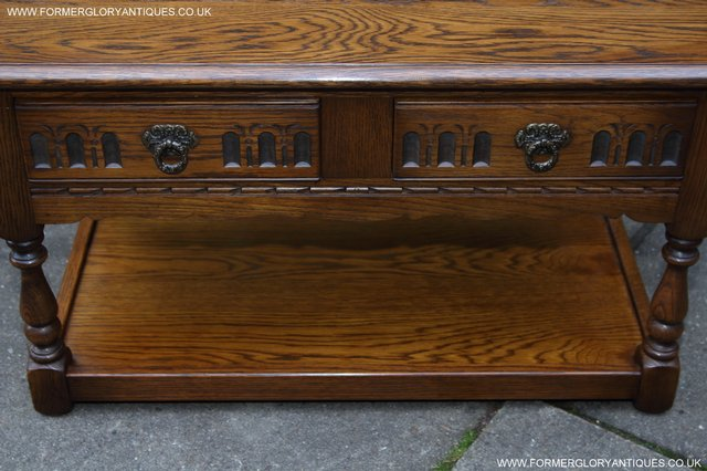 Image 21 of OLD CHARM LIGHT OAK TWO DRAWER LAMP OCCASIONAL COFFEE TABLE