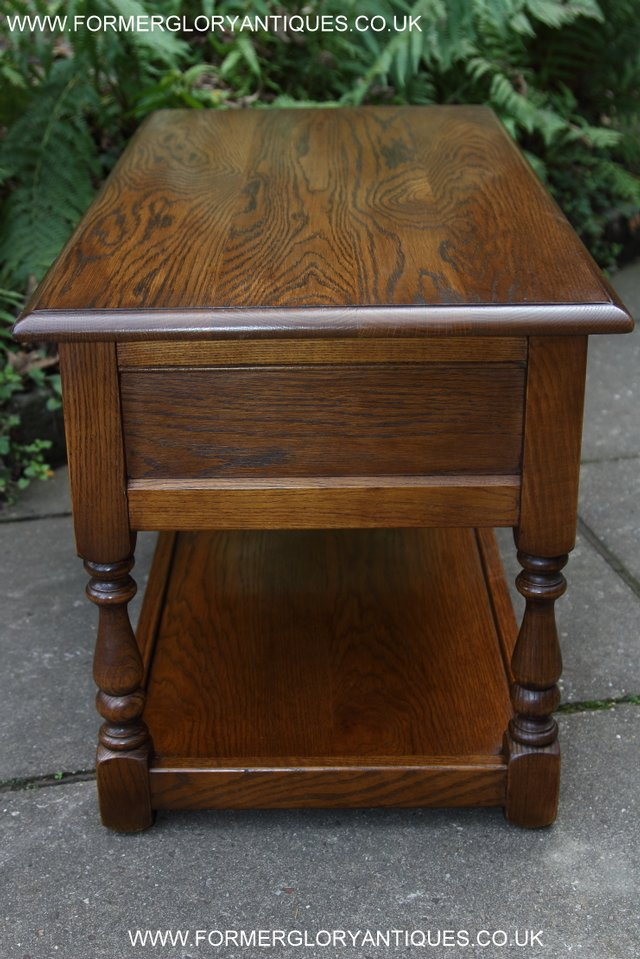 Image 22 of OLD CHARM LIGHT OAK TWO DRAWER LAMP OCCASIONAL COFFEE TABLE