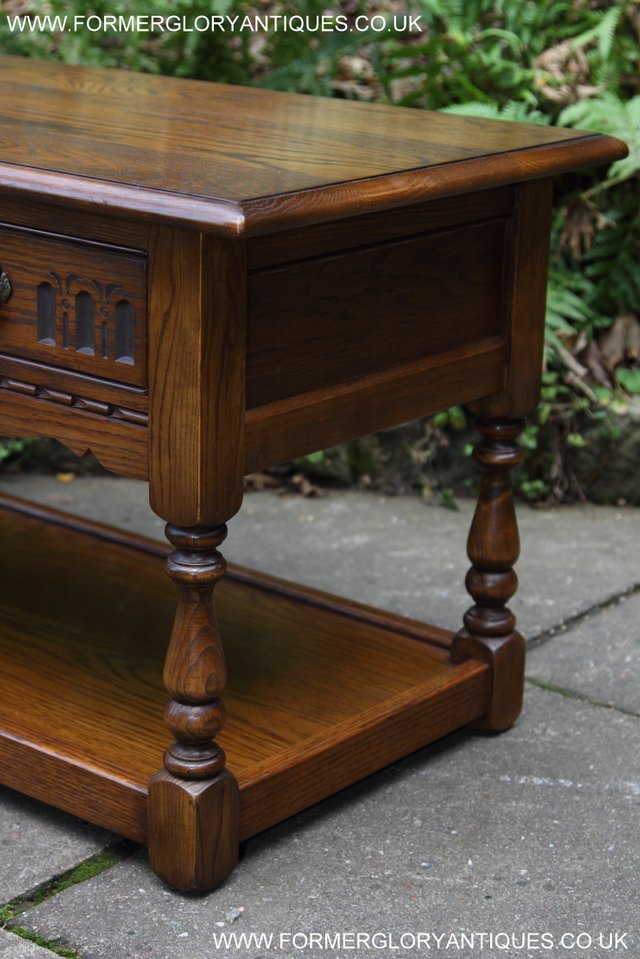 Image 23 of OLD CHARM LIGHT OAK TWO DRAWER LAMP OCCASIONAL COFFEE TABLE