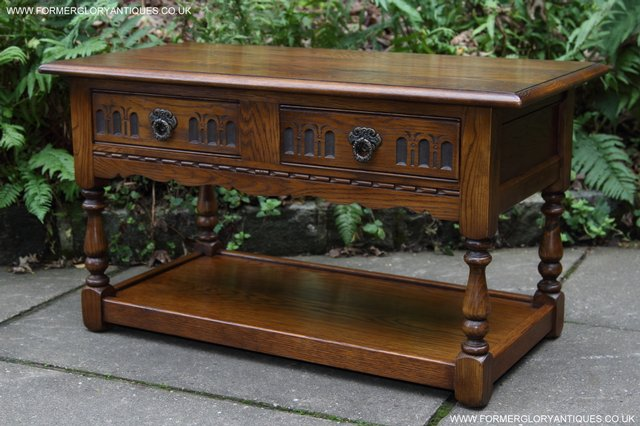 Image 25 of OLD CHARM LIGHT OAK TWO DRAWER LAMP OCCASIONAL COFFEE TABLE