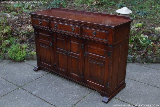 Image 3 of OLD CHARM TUDOR OAK SIDEBOARD DRESSER BASE CABINET TABLE
