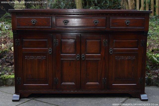 Image 8 of OLD CHARM TUDOR OAK SIDEBOARD DRESSER BASE CABINET TABLE