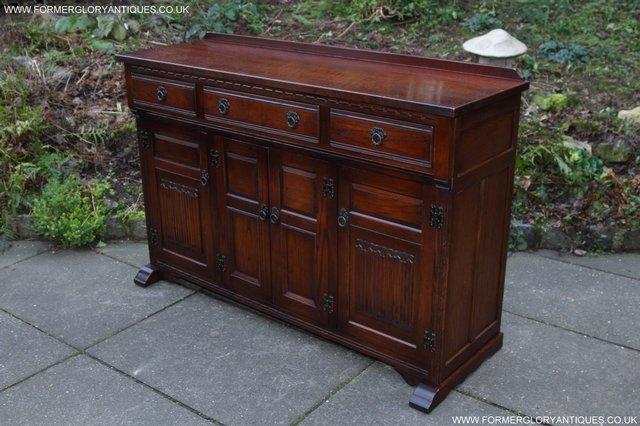 Image 12 of OLD CHARM TUDOR OAK SIDEBOARD DRESSER BASE CABINET TABLE